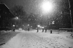 jonas - the worst may be over (thebrooklyndodger) Tags: street nyc newyorkcity winter light urban blackandwhite snow newyork storm film monochrome weather brooklyn night jonas downtownbrooklyn filmphotography snowpocalypse handheldnightshot