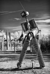 Terminator (rossbysmom) Tags: sculpture monochrome ir desert infrared digitalbw terminator sculpturegarden saltonsea slabcity postapocalyptic eastjesus nilandca