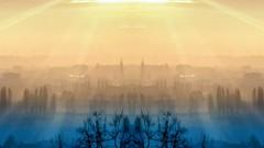 Sunset's Gates #sunset #sunrise #sun #TagsForLikes.com #TFLers #pretty #beautiful #red #orange #pink #sky #skyporn #cloudporn #nature #clouds #horizon #photooftheday #instagood #gorgeous #warm #view #night #morning #silhouette #instasky #all_sunsets #mirr (! . Angela Lobefaro . !) Tags: winter italy mist mobile fog square twilight italia piemonte squareformat nebbia biella piedmont sunbeams valdengo biellese iphoneography instagramapp uploaded:by=instagram