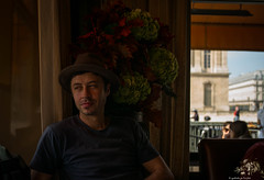 L1001657 (ogrhodeo) Tags: flowers light paris france museum french lunch restaurant pensive fedora date pondering contemplation lefumoir