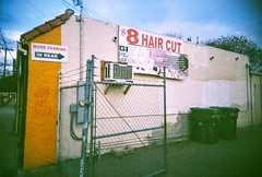 $8 hair cuts (jfpj) Tags: california pink haircut film fuji toycamera sanjose salon vivitar plasticcamera trashcam fuji400film willowstreet vivitarultrawideandslim