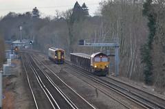 Fast and slow.... (stavioni) Tags: west train south shed rail railway trains hampshire db british swt sprinter schenker class66 ews class159 66132 159002 potbridge