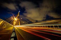14mm at Anzac Bridge || Sydney {Explore 109, 2016/02/3} (David Marriott - Sydney) Tags: road bridge light cloud car night painting long exposure sydney trails pyrmont anzac