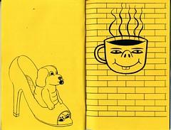 "Page spread from ""Headbangers and Bombers"" a 2004 collaborative zine by Barry McGee / TWIST, Jacob Ciocci, Clare Rojas, and Andrew Jeffrey Wright (fotoflow / Oscar Arriola) Tags: street usa zine art illustration america magazine graffiti book us diy clare drawing jacob united cartoon mcgee twist andrew american artists barry jeffrey booklet states wright publication zines bombers rojas headbangers ciocci"