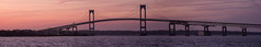 Claiborne Pell (Newport RI) Bridge (tburling) Tags: sunset panorama water evening fuji pano newengland newport goldenhour newportri newportbridge narragansettbay xt1 claibornepellbridge