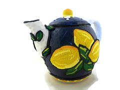 Lemon teapot (higirlsdesigns) Tags: blue yellow lemon italian handmade clay teapot polymer pcagoe