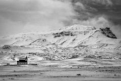 INGJALDSHÓLL (Explore) (Dan Fleury Photos) Tags: white mountain snow black west church rock landscape mono is iceland rocky explore isolation desolate bnw explored
