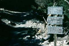 Trail warning signs, Grand Canyon National Park (birdgal5) Tags: arizona grandcanyon southrim kaibabtrail 55mmf35micropc nikkormatel trailwarningsigns