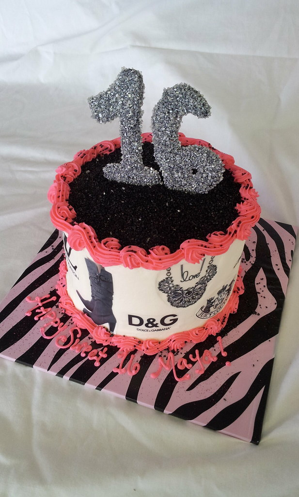 Fashion Sweet 16 Birthday Cake Tasteoflovebakery Tags Pink Black Animal