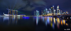 CBD + MBS with Laser Light Show (Ken Goh thanks for 2 Million views) Tags: longexposure blue light sky cloud reflection water skyline night marina evening bay sand singapore pentax smooth sigma nopeople panoramic laser cbd 1020 mbs centralbusinessdistrict ndfilter k5iis