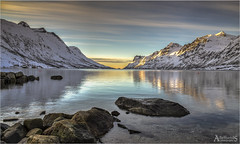 Ersfjordbotn Sunset (AdelheidS photography (away)) Tags: winter sunset sea mountain snow mountains reflection water norway landscape mirror norge scenery norwegen noruega fjord troms troms noorwegen ersfjordbotn canoneos6d adelheidspictures adelheidsmitt adelheidsphotography