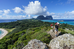 Walking up to Malabar Hill, Lord Howe Is (NettyA) Tags: blue people water clouds landscape rocks view hiking australia bushwalking nsw hikers day4 unescoworldheritage lordhoweisland thelagoon 2016 malabarhill lhi bushwalkers nedsbeach mtgower mtlidgbird lordhoweforclimate