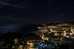Almuecar 6:45 horas (J Fuentes) Tags: longexposure sea night stars mar flickr save luna granada estrellas nocturna reflejos almuecar largaexposicin costatropical
