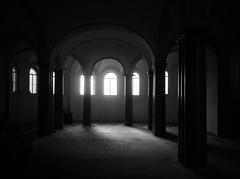 Stabilimento bagni, Garbatella (explore) (Robert Barone) Tags: blackandwhite italy rome roma monochrome architecture blackwhite italia noiretblanc columns explore commute garbatella panasonicgm1 panasoniclumixgvario1232f3556