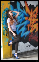 nEO_IMG_DP1U1584 (c0466art) Tags: light portrait water girl beautiful wall canon pose painting island nice colorful long pretty pants action body gorgeous country ruin line figure marta lovely charming tight elegant curve sao reflectiom tome antunes 1dx c0466art