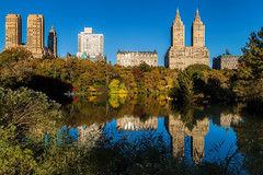 Central Park Autumn (Bob90901) Tags: park city nyc newyorkcity autumn ny reflection fall water skyline canon buildings reflections october outdoor centralpark fallcolors fallfoliage bowbridge thelake 6d theramble 2015 aechitecture canonef24105mmf4lisusm rpg90901