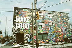 MAKE GOOD (Georgie_grrl) Tags: friends toronto ontario building bicycle sign architecture mural message bright photographers social pentaxk1000 arrow positive karma colourful outing rikenon12828mm makegood torontophotowalks seatonvillagesaturdayscramble topwsvss