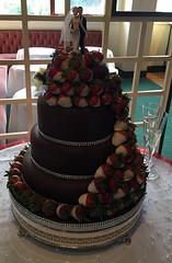 Beth's Chocolate & strawberries wedding cake (Mrs P's Patisserie) Tags: wedding cake chocolate strawberries sponge dipped