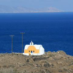 Santorini colors.... (klentosharry) Tags: blue sea church yellow canon aegean hellas santorini greece cyclades  canoneos5d