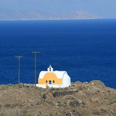 Santorini colors.... (klentosharry) Tags: blue sea church yellow canon aegean hellas santorini greece cyclades μπλε canoneos5d ελλάδα θαλασσα σαντορίνη κιτρινο κυκλάδεσ εκκλησακι
