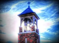 The Bell Tower (clarkcg photography) Tags: tower bell belltower sun clouds sunlight starburst sunburst tulsa oklahoma saturated manipulated sliderssunday