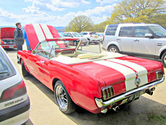 Fine weather  for a convertible -open-topped .. (John(cardwellpix)) Tags: uk ford corner soft top sunday convertible 66 surrey april mustang guildford 24th newlands albury 2016 merrow