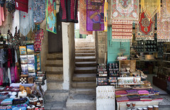 The Stone Steps of the Old City, Jerusalem and the Wares of the Sellers in the Market Place (marylea) Tags: colors israel colorful stonework jerusalem steps marketplace may13 oldcity 2015