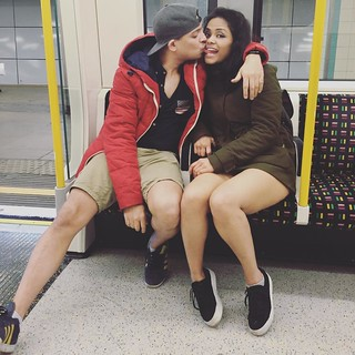 shorts in winter? Why not?  anything for @caryraj 's summer beach themed party. Thx for the pic @appy21 #underground #TFL #love #party #journey