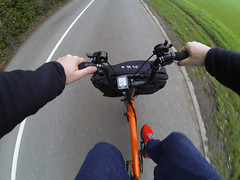 Pedaling straight out on a Brompton (01101001 01100001 01101110) Tags: orange black bike cycling edition folding brompton garmin