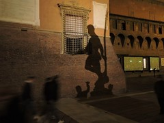 People are temporary, just fading shadows, art is eternal. (]alice[) Tags: street city shadow night noche shadows darkness ombra streetphotography sombra ombre bologna nuit buio nettuno