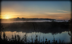 Visual experiment (k.tusnio) Tags: morning autumn sky sun nature water 35mm river landscape nikon colorful foggy poland flare hdr rogalin forst d5100