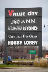 Value City sign... (Nicholas Eckhart) Tags: usa retail mi america us hobbylobby michigan detroit departmentstore taylor stores valuecity 2016 bedbathbeyond joannfabrics christmastreeshops