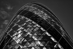 Geometry Test (Slider) Tags: england blackandwhite bw building london lines architecture triangles skyscraper diamonds aperture gherkin