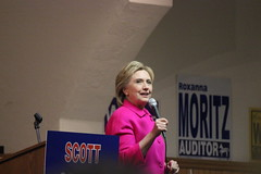 Hillary Clinton at the Scott County Democratic Dinner (evan.guest) Tags: county dinner scott martin clinton flag president political politics rally iowa presidential trail hillary microphone omalley davenport campaign democrat democratic caucus caucuses