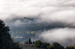 house in the clouds (littletinperson) Tags: morning autumn italy color fog italia hills pienza toscana valdorcia nebbia autunno impression littletinperson