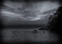 Lake Monona - Sunrise (NikonD3xuser1(Thanks for 1.3 million visits)) Tags: blackandwhite usa wisconsin sunrise boat dock nikon madison lakemonona isthmus d810
