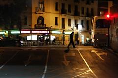 (cherco) Tags: city shadow man trafficlights color colour silhouette night composition canon noche alone ciudad sombra semaforo lonely arrow silueta solitary nocturne solitario zebracrossing flecha composicion