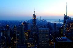Manhattan at Dusk (baxter.ad) Tags: new york blue sunset sky usa skyline skyscraper stars lights haze glow manhattan centre streetlife rockefeller hue height