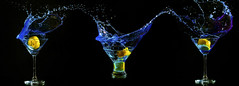 Triple Fruit Drop (darrenball189) Tags: blue light party black cold color macro classic wet water glass yellow closeup fruit bar club dark three frozen drops lemon cool movement stem colorful drink background beverage martini bubbles nobody drop fresh spray clean falling fluid celebration cocktail liquor alcohol tropical backgrounds transparent splash effect celebrate triple liquid isolated freshness refreshment splashing