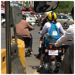 The Walking Dead Backpack (Danburg Murmur) Tags: street car umbrella mirror automobile cambodia traffic helmet licenseplate backpack tuktuk phnompenh rider kampuchea kingdomofcambodia thewalkingdead    prehrachanachkkmpcha