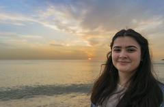 Sarah (Wajdi Hmissi) Tags: sunset sea portrait sky lebanon sun college smile clouds student model pretty mediterranean gorgeous horizon arab beirut lebanese