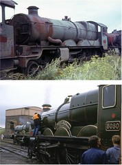 5080 at Barry 12 Aug 1967 & Didcot 11 June 1988 (Brit 70013 fan) Tags: castle heritage southwales brothers centre 1988 railway class barry 1967 restored british scrapyard preserved didcot defiant britishrailways greatwesternrailway woodham barrydocks 5080 exgwr exbr