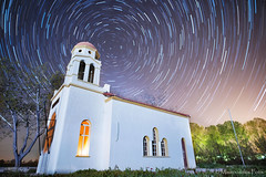 Starry Night over the Church (Mavroudakis Fotis) Tags: travel sky blur castle tourism church nature night stars star cathedral space hill religion royal trails atmosphere krakow polish chapel landmark science greece stellar astrophotography dome rotation astronomy baroque heavens universe skyward orthodox cracow rotating renaissance cosmos grounds turning timeless celestial cosmology kavala astronomical scientific rotate macedonian makedonia astrometrydotnet:status=failed  macedoniagreece jagiellonka astrometrydotnet:id=nova1524020