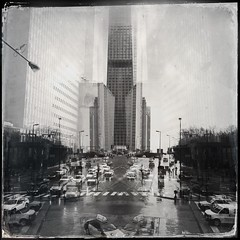 Wet day in downtown (A.Azul) Tags: city bw chicago car rain buildings downtown surrealism hipstamatic