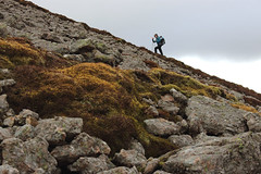 My friend Susanna, ascending Morven. (Shandchem) Tags: mountains scotland hill boulder scree corbett caithness conglomerate morven