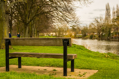 Yes I Remember The Bench But Everything Else Is A Blur (williamrandle) Tags: uk trees england blur water river bench landscape spring nikon dof outdoor depthoffield serene worcestershire riverbank riveravon 2016 evesham d7100 tamron2470f28vc