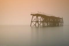 The Abandoned (Chee Seong) Tags: old reflection abandoned silhouette misty fog sunrise coast scotland jetty calm serene carlingnosepoint