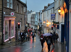 Down a Durham street in the rain (Tony Worrall Foto) Tags: county city uk houses light england people urban streets rain weather night buildings walking evening lowlight stream tour open durham place northwest unitedkingdom dusk walk candid country north visit location row rainy area shops lit northern update damp attraction welovethenorth