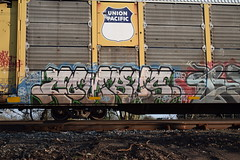 COMBOS (TheGraffitiHunters) Tags: auto street blue brown white black green art car train graffiti colorful paint tan tracks spray freight racks combos carriers autoracks benched benching