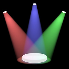 Red Blue And Green Spotlights Shining On A Small Stage With Black Background (silvermountain2015) Tags: blue light red white green lights theater ray glow shine bright background stage spot spotlight beam event blank backgrounds backdrop glowing lit effect floodlight floodlit spotlights